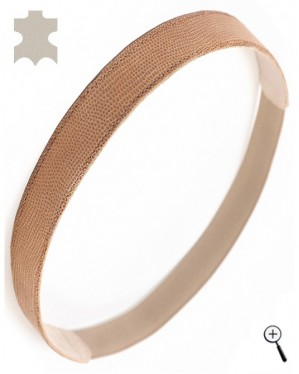 Beige magnetic head band from laser processed leather (details)