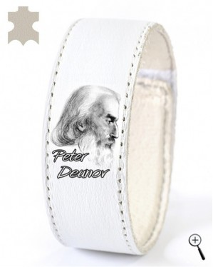 White magnetic band for wrist with picture of Deunov (details)
