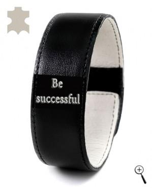 "Black magnetic bracelet with inscription ""Be successful"" (details)"