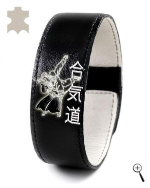 Black magnetic leather band with picture of Aikido grip (details)