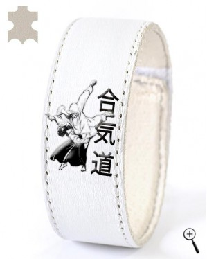 White magnetic leather accessory with Aikido grip (details)