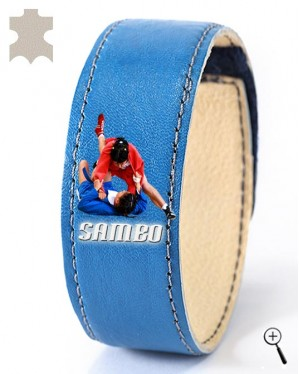 Blue magnetic bracelet with drawing of Sambo grip (details)