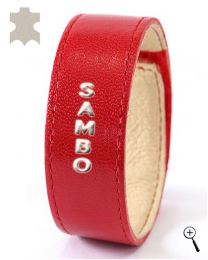 """Red magnetic accessory labeled """"Sambo"""" (details)"""