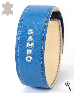 "Blue leather band, labeled ""Sambo"" (details)"
