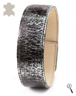 Magnetic bracelets from black and silver leather - size XXL (details)