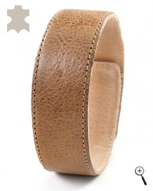 Magnetic bracelets from light brown real leather - size XL (details)