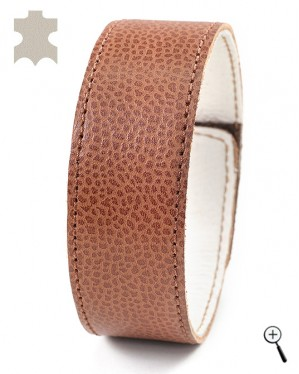 Magnetic bracelets from beige real leather - size L (more details)