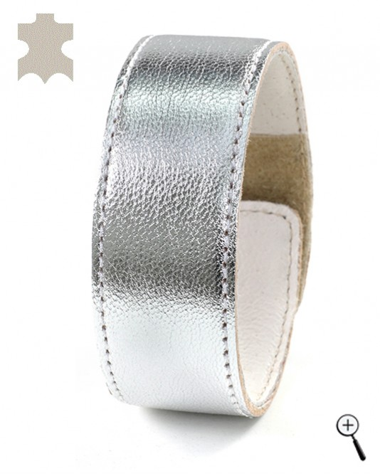 Magnetic bracelets from plain silver real leaher - size S (details)