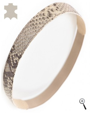 Magnetic leather bands for head from beige reptile (details)