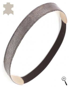 Magnetic leather band from lack in black-silver (details)