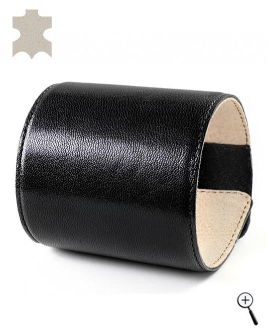 Special magnetic bracelets from plain black real leather - L (more details)