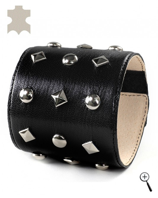 Special magnetic bracelets from black leather with mixed elements - L (details)