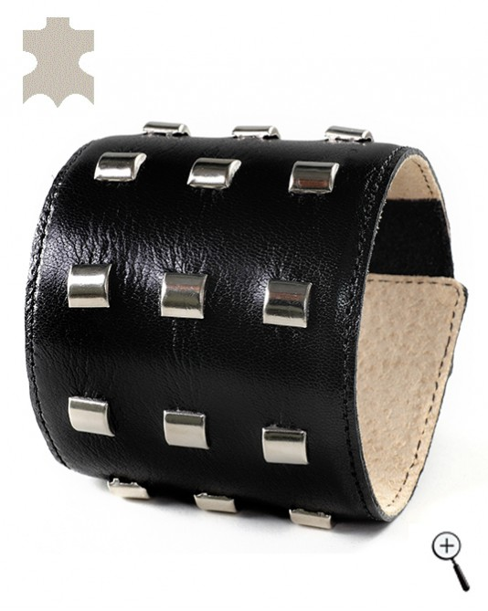 Special magnetic bracelets from black leather with rectangular accessories - M (details)