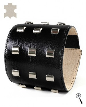Special magnetic bracelets from black leather with rectangular capps - S (details)