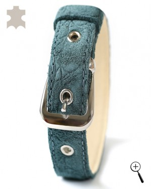 Magnetic cat accessory from green natural leather - size L - (details)