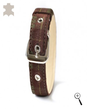 Magnetic leather cat bands - dark brown with green squares - size S - (details)
