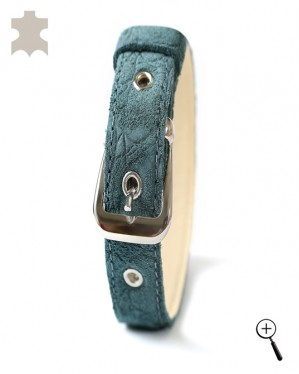 Magnetic bands for cats from real leather - green suede - size S - (details)