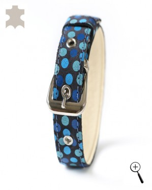 Magnetic leather cat collar - dark blue with blue circles - size S - (details)