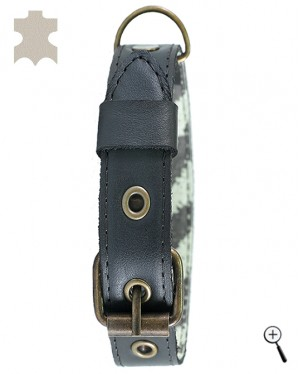 Canine magnetic collar - black real leather, size XS (more details)