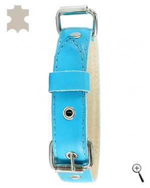 Canine magnetic collar - blue real leather, size XS (more details)