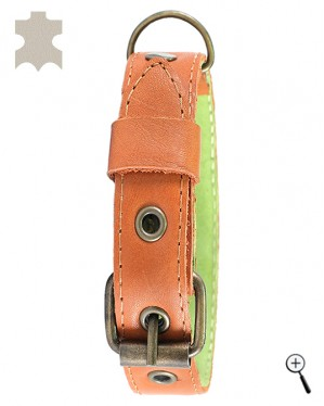 Canine magnetic collar - brown real leather, size XS (details)