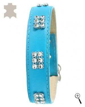 Cat magnetic collar - blue real leather with strass effect - size L - (details)