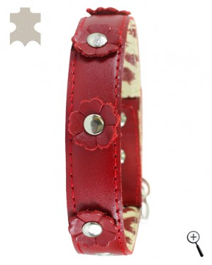 Cat magnetic collar - red real leather with decoration - size L - (details)