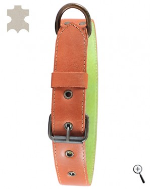 Dog magnetic collar - brown real leather, size S (details)