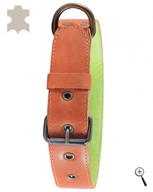 Dog magnetic collar - brown real leather, size XL (details)