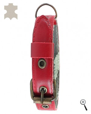 Canine magnetic collar - red real leather, size XS (more details)