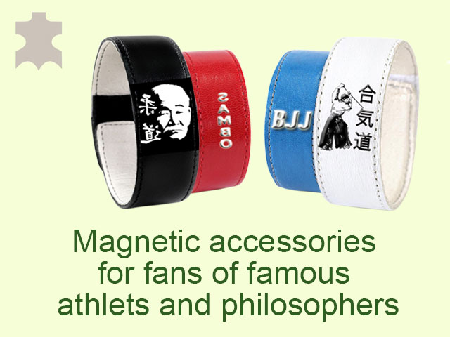 The magnetic accessories for fans of famous athletes and philosophers increase physical and mental endurance of the body.