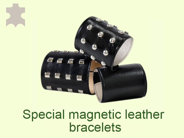 The special magnetic leather bracelets are made from black real leather with metal accessories and they have enhanced therapeutic effect