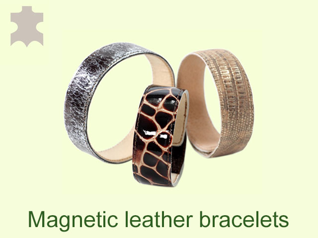 The magnetic leather bracelets regulate the blood pressure.